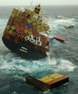 The container ship Rena on Astrolabe Reef off Tauranga.
