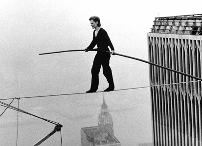 Philippe Petit twin towers walk 3
